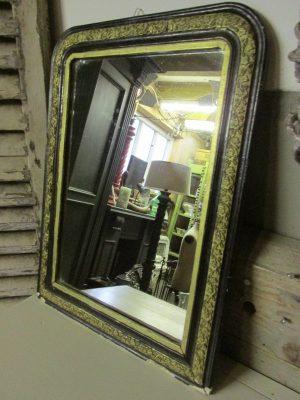 Antieke Franse spiegel, 39.5x52 zwart/goud