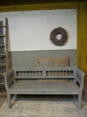 Brocante oude bank, grijs 186 cm lang