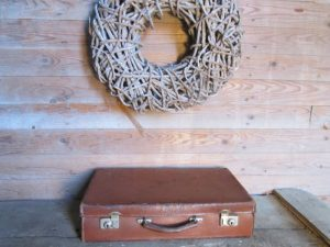 Oude leren koffer, cognac 48.5 x 28 cm