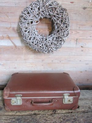 Oude bruine koffer, 55.5 x 33.5 cm