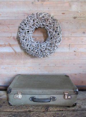 Oude koffer zwart/grijs 60.5 x 35.5 cm