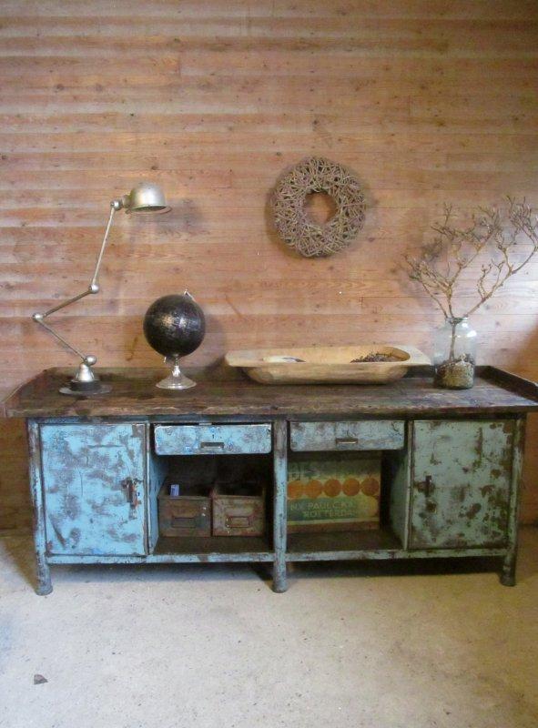 stalen oude werkbank keukeneiland dressoir