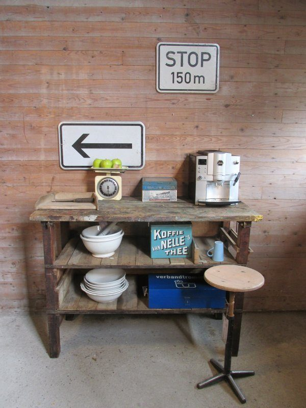 oude werkbank keukeneiland