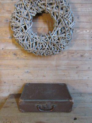 Oud klein koffertje, croco 38 x 26 cm