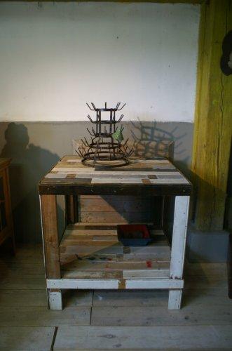 Statafel-werktafel van sloophout