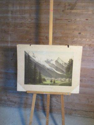 Oude schoolplaat Chamonix en de Monte blanc