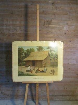 Oude schoolplaat Javaanse woning