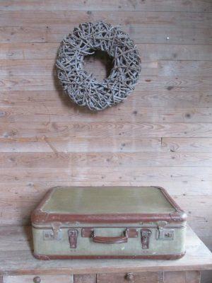 Oude koffer, groenbruin 70 x 46 cm