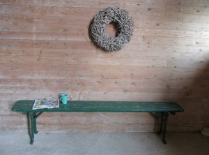 Vintage houten bank, inklapbaar 2x