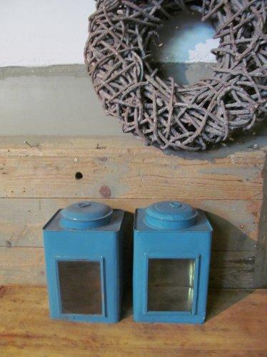 Brocant vensterblik, klein, blauw
