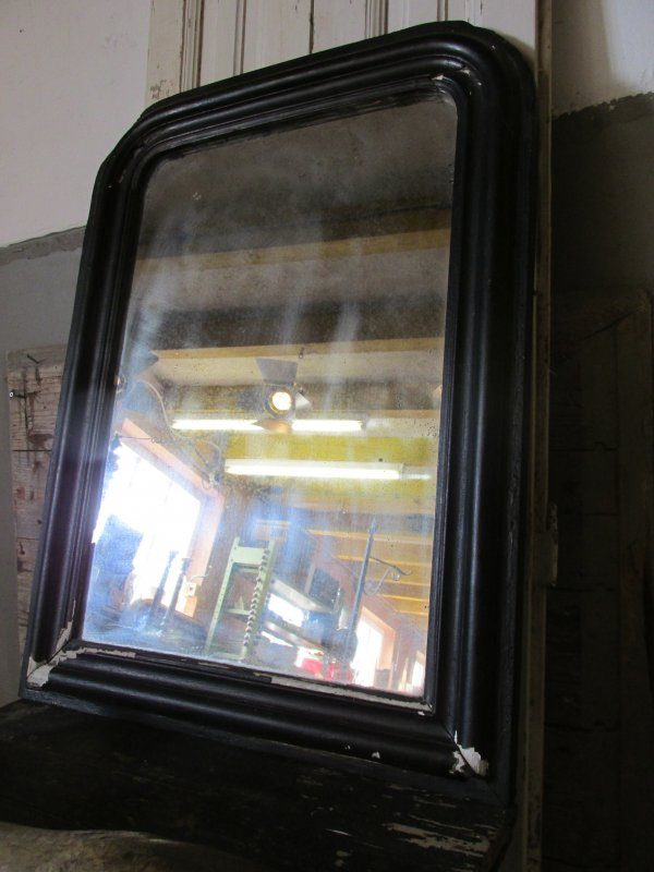 Brocante Zwarte Spiegel.Antieke Franse Spiegel Zwart 55x74cm