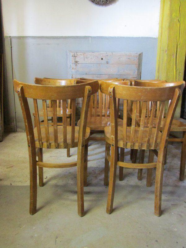 Oude houten cafestoel (2 stuks)
