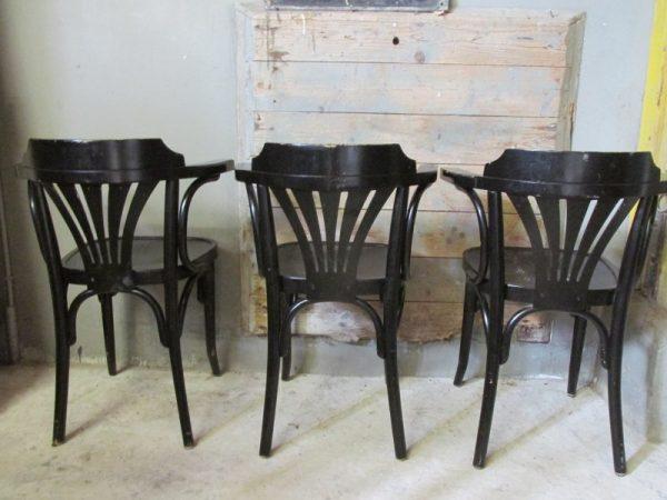 Zwarte bistrostoel met armleuning (3 stuks)