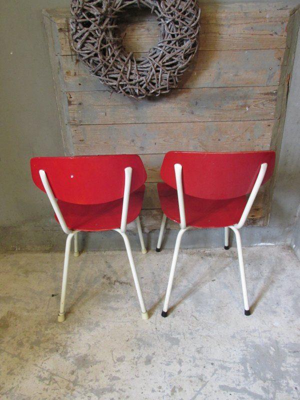 Jaren 50 stoel, rood 2 stuks