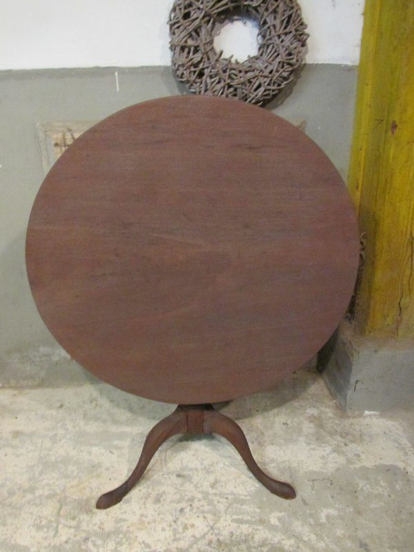 Antieke ronde wijntafel, klaptafel mahonie