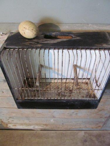 Brocant vogelkooitje in zwart