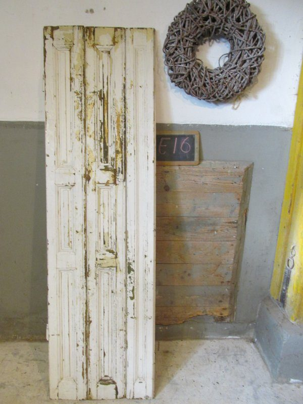 Brocant oud wit houten luik, 185 l, 54 b  E16
