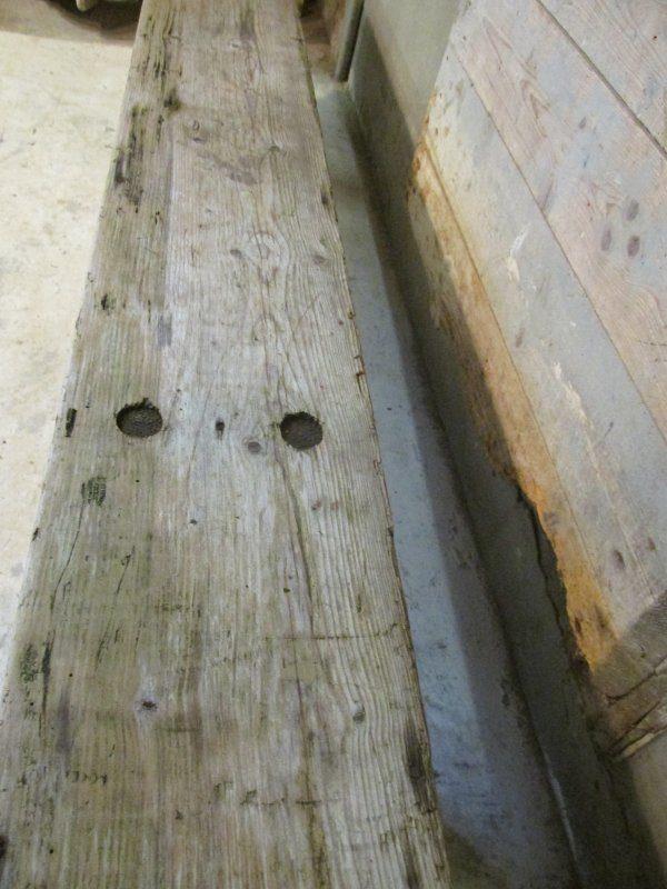Oude houten bank, 202 cm lang