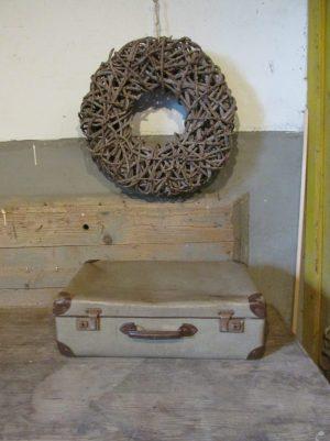 Oude koffer, grijsgroen tweed 50.5 x 42cm