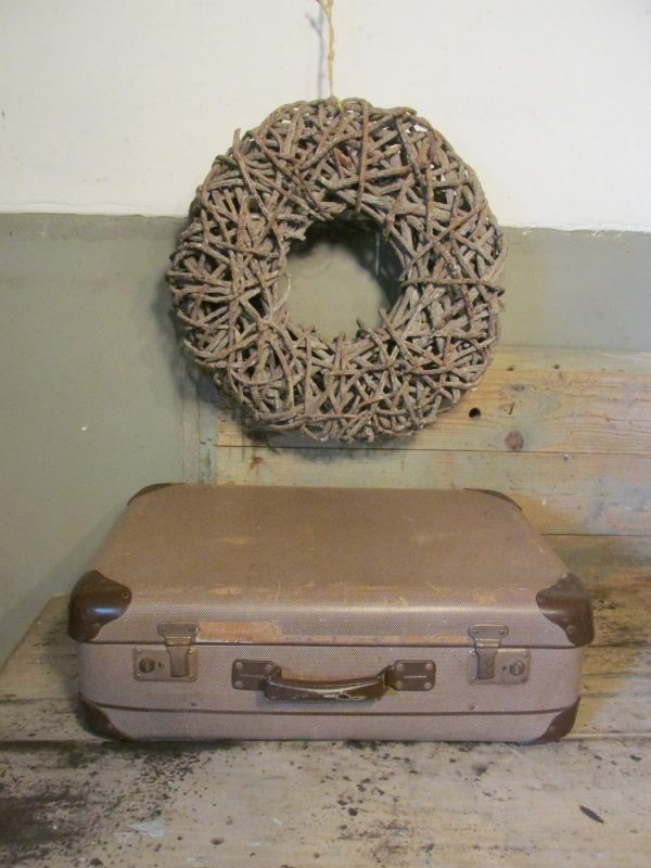 oude koffer bruin tweed