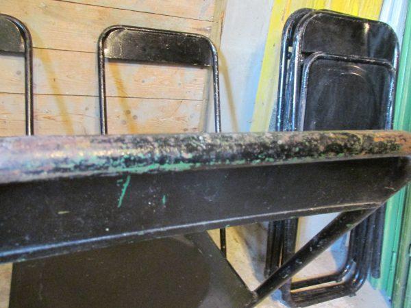 Oude zwarte metalen stoelen inklapbaar, 5 stuks