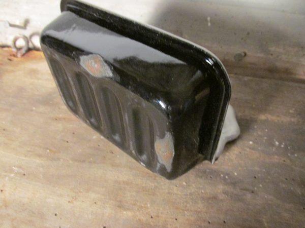 Zwart emaille zeepbakje met grijze binnenkant