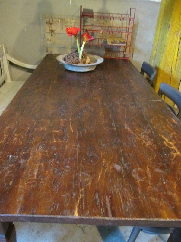 Oude teakhouten tafel, geleefd blad, demontabel