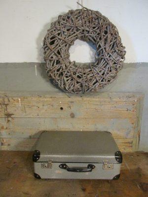 Oude koffer zwart wit tweed 45.5 x 28.5 cm