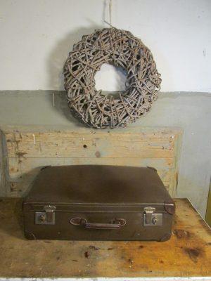 Oude koffer donkerbruin 61 x 38 cm