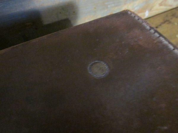 Oude kleine leren koffer, bruin 35.5 x 23.5 cm