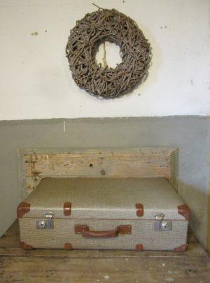 Oude koffer groot in Bruin tweed 76 x 44 cm