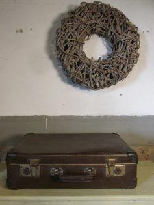 Oude koffer donker bruin 50 x 31 cm