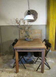 Oude eiken eet of werk tafel, verlengbaar