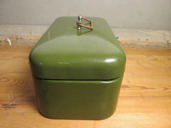 Emaille koektrommel donker groen