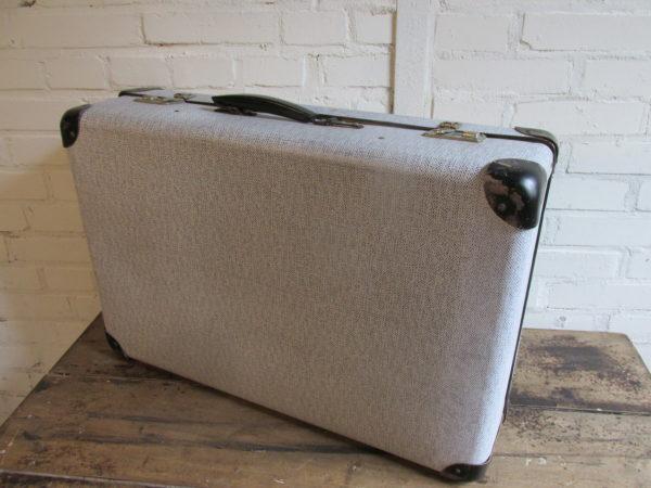 Oude koffer zwart/wit 66 x 44 cm