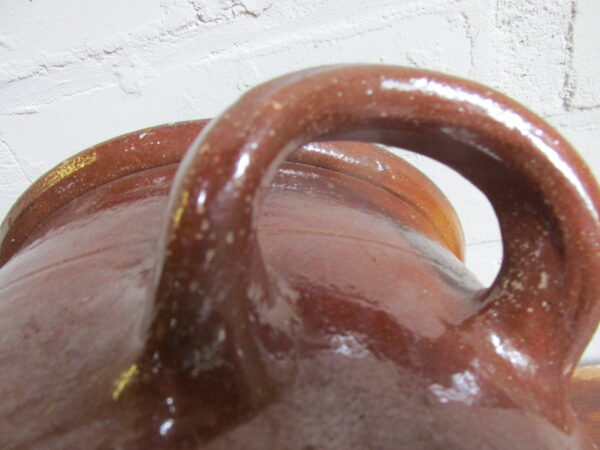 Oude Franse bruine grespot 31 cm hoog