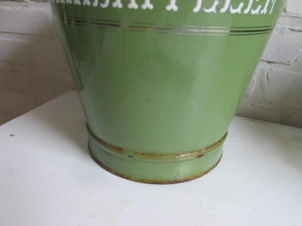 Emaille emmer van BK in Reseda met zilverbies