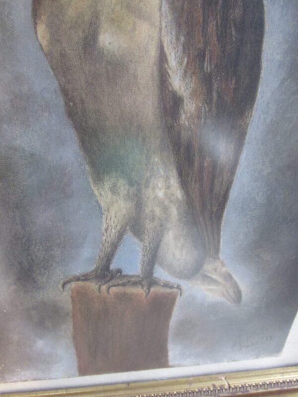 Oud schilderij, pastel met uil