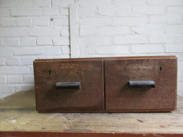 Vintage eiken 2 lade archief kastje