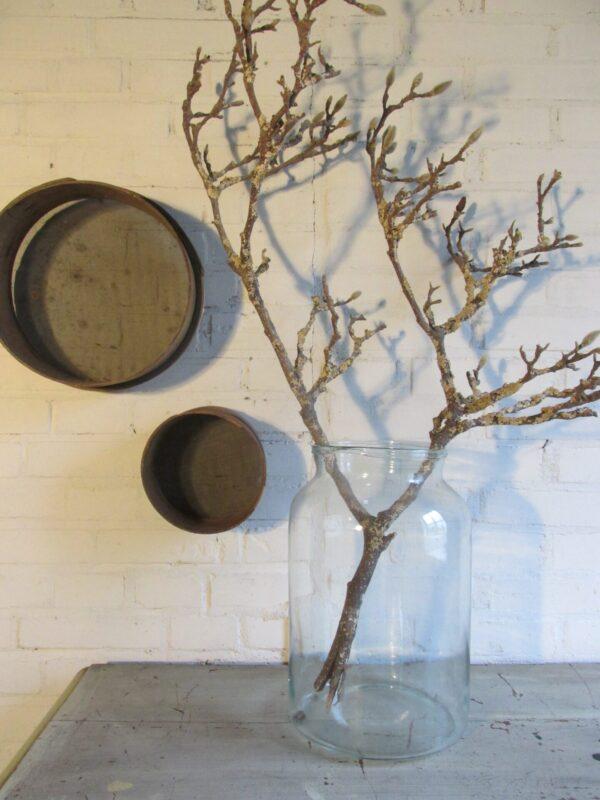 Grote oude glazen vaas van 34 cm hoog
