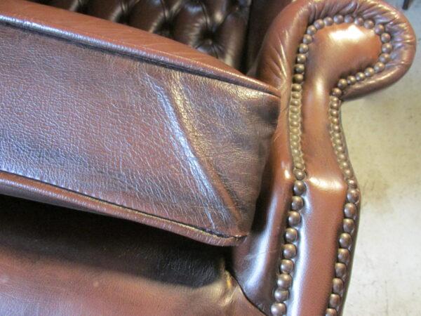 Chesterfield (look) leren bruine oor fauteuil