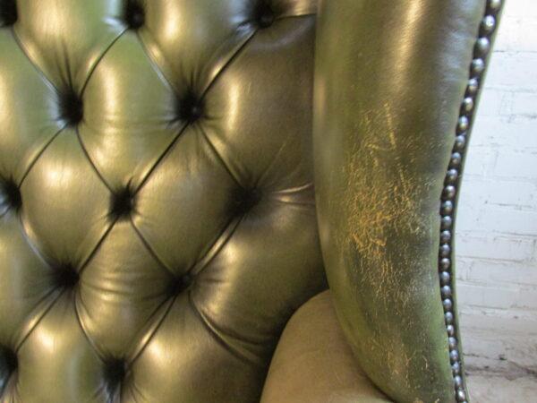 Chesterfield (look) leren groene stoel, club fauteuil