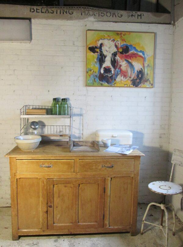 Antieke grenen toonbank of als keukeneiland
