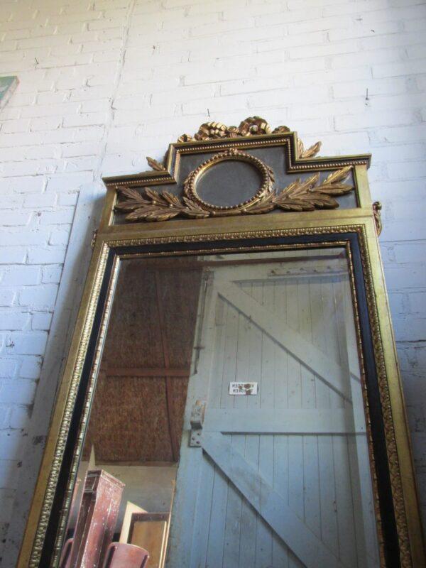 Grote antieke Franse spiegel met strik 75 x 150 cm