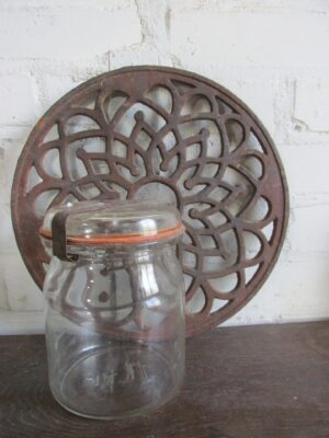 Oude glazen weckpot