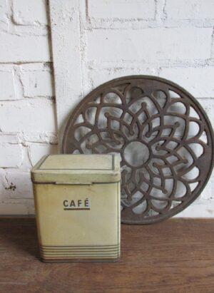 Klein Frans oud koffieblik in een nude kleur