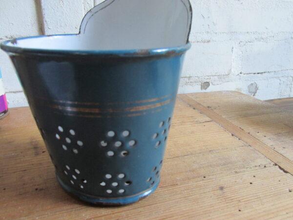 Emaille zeepkop in Petrol blauw