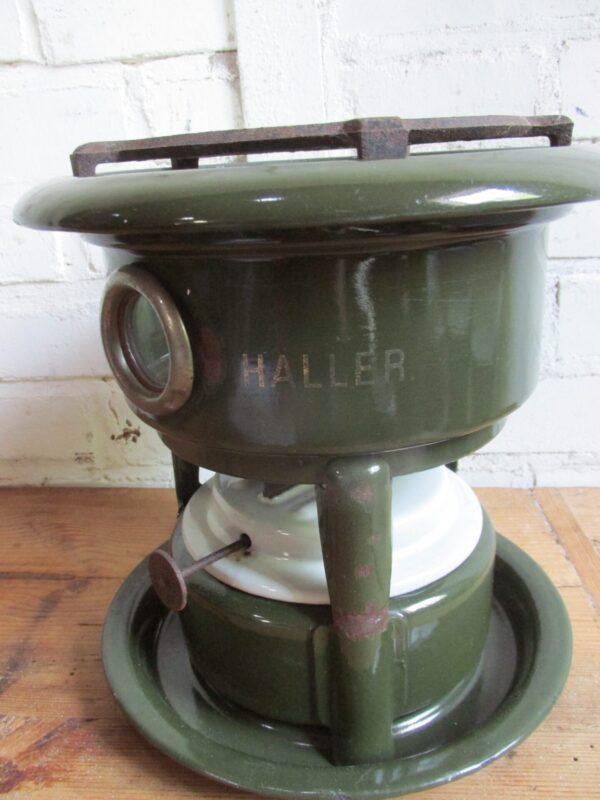 Emaille petroleum stel, donkergroen,Haller