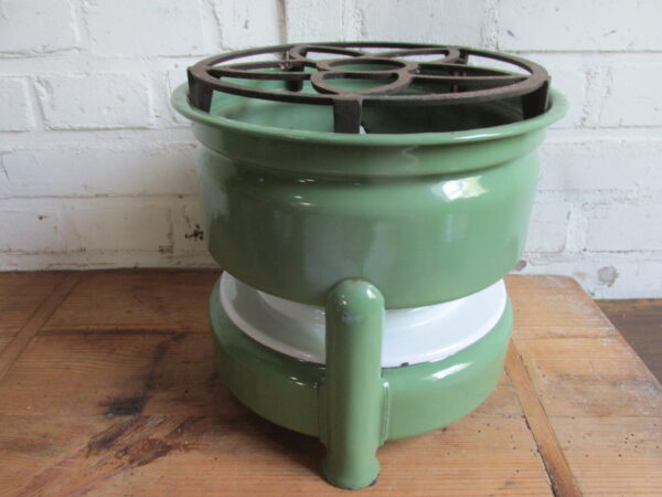 Emaille petroleumstel in het groen, 3 pitter