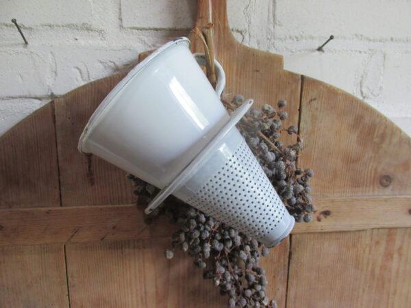 Emaille witte inhang koffie zeef